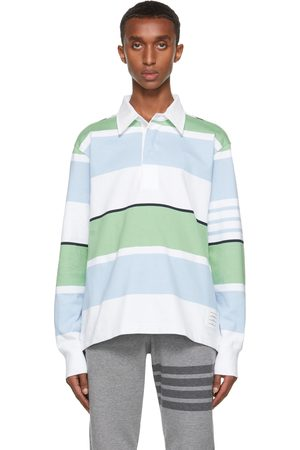 Thom Browne Men Polo Shirts - White & Blue Engineered 4-Bar Rugby Long Sleeve Polo