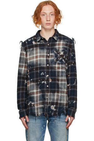 R13 Men Casual - Navy Bleached Shredded Seam Shirt