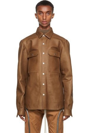 Rick Owens Men Leather Jackets - Tan Leather Outershirt Jacket