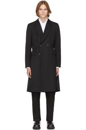 Alexander McQueen Men Coats - Black Logo Print Double-Breasted Coat