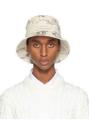 Thom Browne Men Hats - Off-White Toile Print Bucket Hat