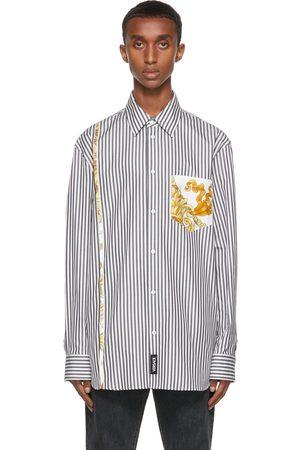 VERSACE Men Shirts - White & Black Medusa Renaissance Accent Shirt