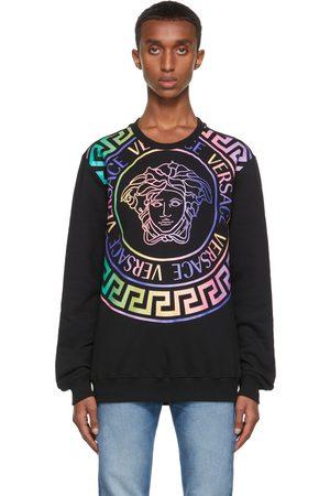 VERSACE Men Sweatshirts - Black & Multicolor Medusa Logo Sweatshirt