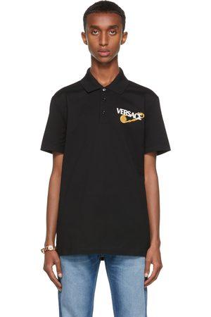 VERSACE Men Polo Shirts - Black Pin Logo Polo