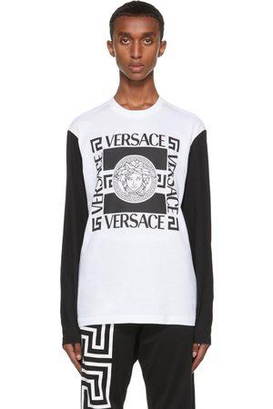 VERSACE Men Long Sleeve - White & Black Medusa Long Sleeve T-Shirt