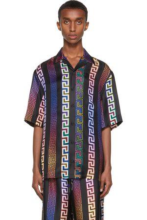 VERSACE Men Short sleeves - Black Silk Neon Greca Short Sleeve Shirt