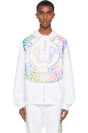 VERSACE Men Hoodies - White & Multicolor Medusa Zip-Up Hoodie