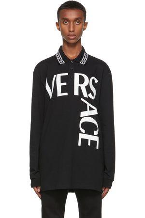 VERSACE Men Polo Shirts - Black Logo Long Sleeve Polo