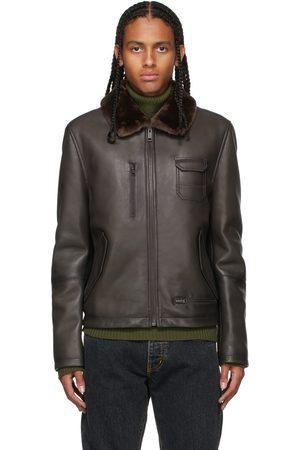 YVES SALOMON Grey Leather Aviator Jacket