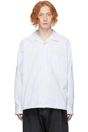 Loewe Men Shirts - White & Blue Jacquard Open Collar Shirt