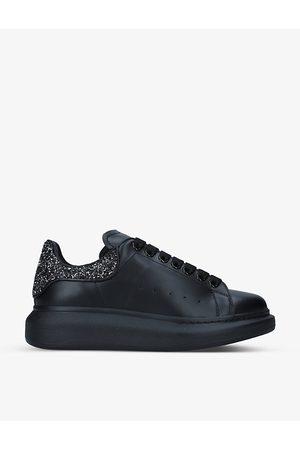 Alexander McQueen Women's Runway glitter-heeled leather platform trainers