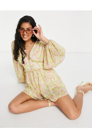ASOS Button front long sleeve romper in 70s floral-Multi