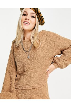 ASOS Off the shoulder sweater in textured boucle yarn in camel - part of a set-Neutral
