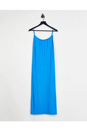 ASOS Gathered neck strappy midi sundress with pockets in bright blue-Blues