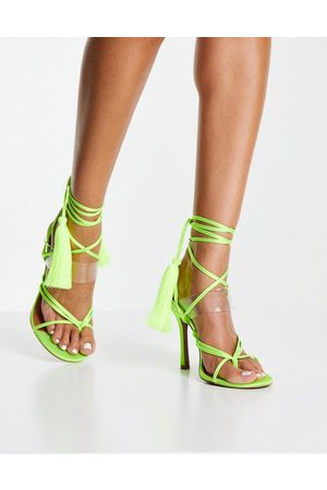 ASOS Neeley toe thong heeled sandals in lime