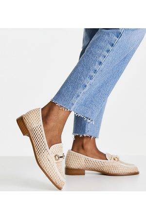 ASOS Wide Fit Vapor snaffle loafers in natural fabrication-Neutral