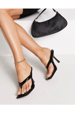 ASOS Nissa toe thong heeled sandals in patent