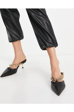 ASOS Stevie chain detail mid heeled mules in