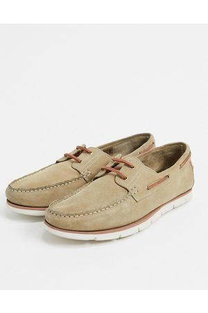 ASOS Boat shoes in stone suede with white sole-Neutral