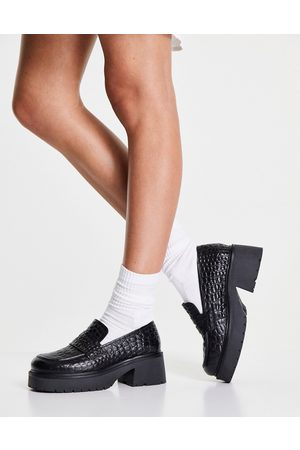 ASOS Moral leather chunky loafer in croc