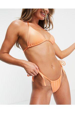 ASOS Mix and match mirror satin rib tie side bikini bottom in