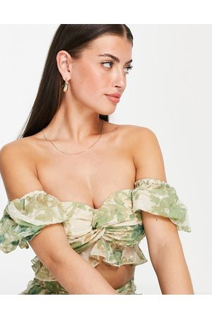 ASOS Floral off shoudler top with puff sleeve in textured chiffon - part of a set-Multi