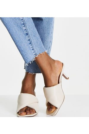 ASOS Wide Fit Wealth folded padded mid heeled mules in bone