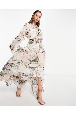 ASOS Mixed print floral maxi dress on jacquard base with button front detail-Multi