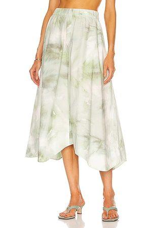 Ganni Printed Cotton Poplin Skirt in Sage