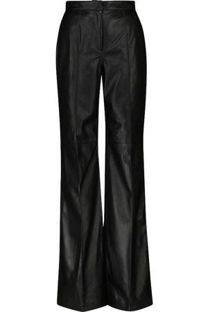 Costarellos Women Leather Pants - Denie high-rise leather straight pants