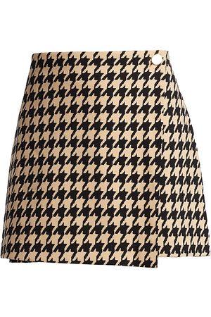 ALICE+OLIVIA Women Mini Skirts - Renna Houndstooth Wrap Mini Skirt