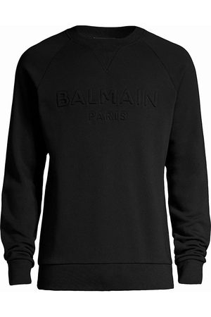 Balmain Men Sweatshirts - Logo Embossed Cotton Sweatshirt