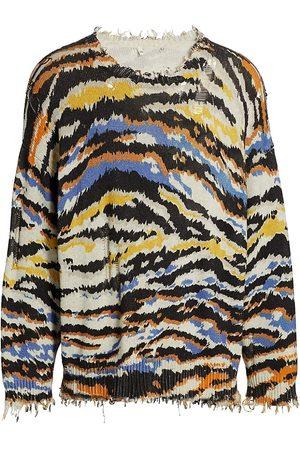 R13 Women Sports Hoodies - Cotton Zebra Print Sweater