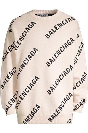 Balenciaga Men Sweatshirts - All-Over Logo Print Crewneck Sweater