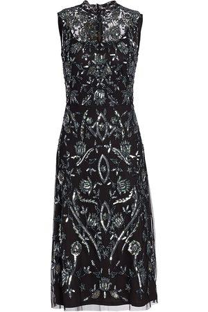 Reem Acra Women Sleeveless Dresses - Sleeveless Beaded & Embroidered Dress
