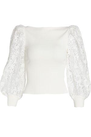 ALICE+OLIVIA Women Sports Hoodies - Abella Lace Puff-Sleeve Sweater