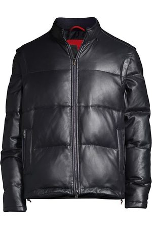 ISAIA Men Leather Pants - Leather Down Puffer