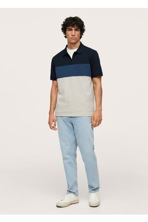 MANGO Men Polo Shirts - Color block piqué polo shirt