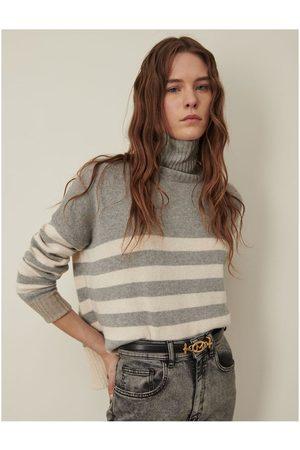 MARELLA Crimea Stripe Roll Neck Jumper S, Colour: Grey