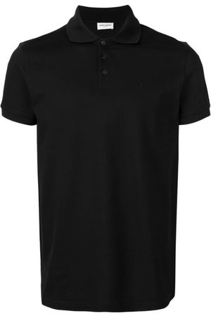Saint Laurent Men Polo Shirts - Embroidered Monogram Polo Shirt