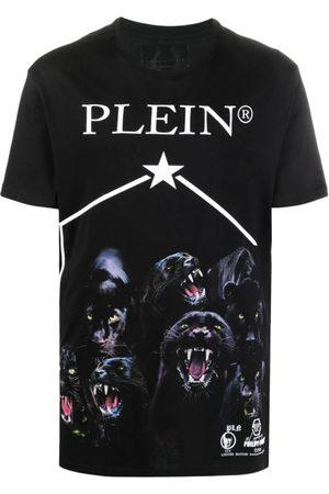 Philipp Plein Men Short Sleeve - Panther-Print Short Sleeved T-Shirt
