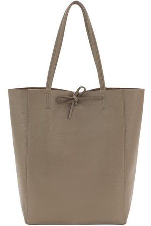 Sostter Women Purses - Taupe Pebbled Leather Tote Shopper Bag