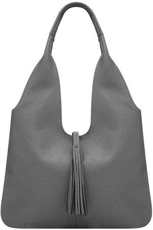 Sostter Women Purses - Slate Grey Tassel Leather Hobo Bag