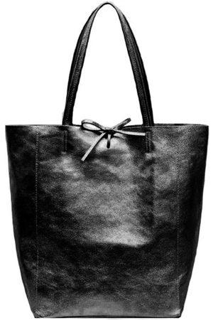 Sostter Women Purses - Black Metallic Leather Tote Shopper Bag