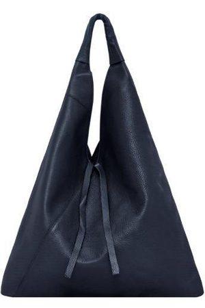 Sostter Navy Pebbled Boho Leather Bag