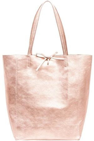 Sostter Women Purses - Rose Gold Metallic Leather Tote Shopper Bag