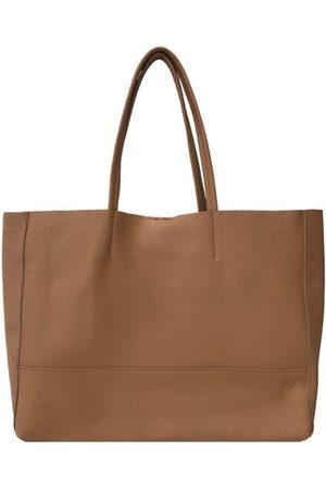 Sostter Women Purses - Camel Horizontal Soft Pebbled Leather Tote Bag