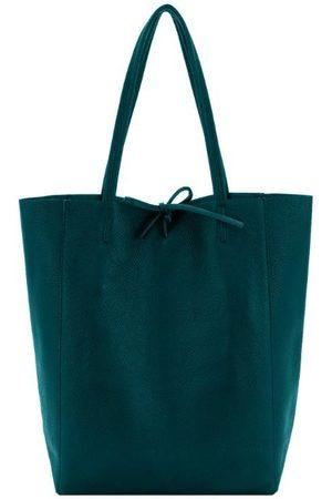 Sostter Women Purses - Jade Pebbled Leather Tote Shopper Bag