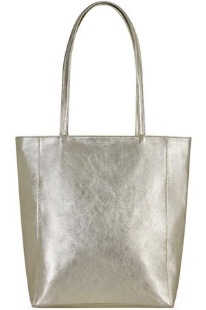 Sostter Gold Zip Top Leather Tote Shopper Bag