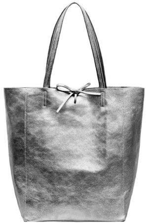 Sostter Pewter Metallic Leather Tote Shopper Bag